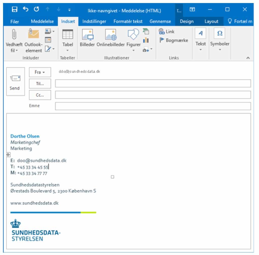 Outlook e-mail signaturløsning til Sundhedsdatastyrelsen